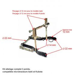 Kit attelage micro-tracteurs Kubota Iseki Yanmar schéma
